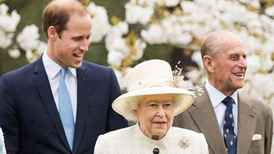 Prince William steps out with the Queen and Prince Philip