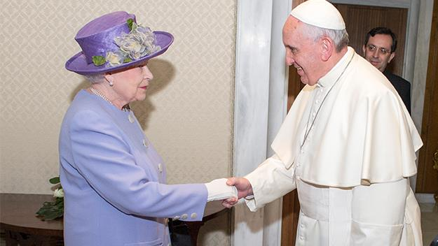 Pope Francis welcomes Queen Elizabeth to the Vatican City.