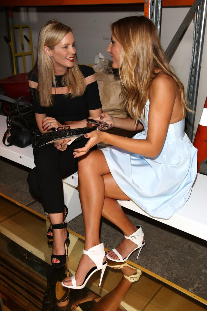 Sophie Falkiner and Laura Dundovic attend the Alex Perry show at Carriageworks.