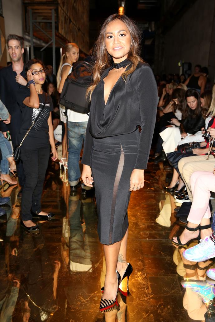 Singer and actress Jessica Mauboy attends the Alex Perry show.