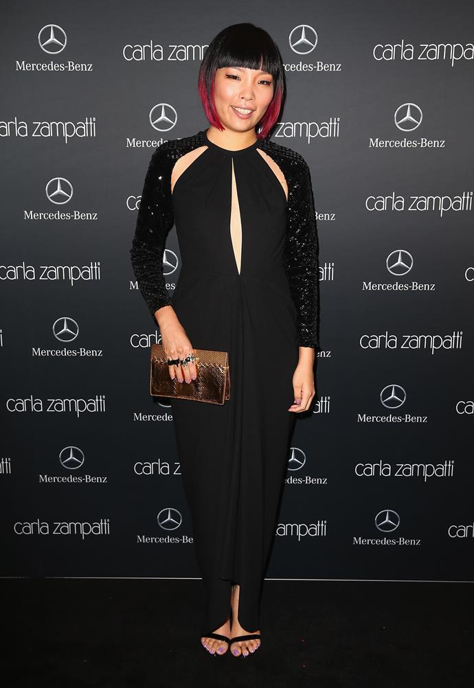 X Factor winner Dami Im attends the Carla Zampatti show at Carriageworks.