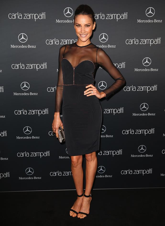 TV presenter and model Rachael Finch at the Carla Zampatti show.