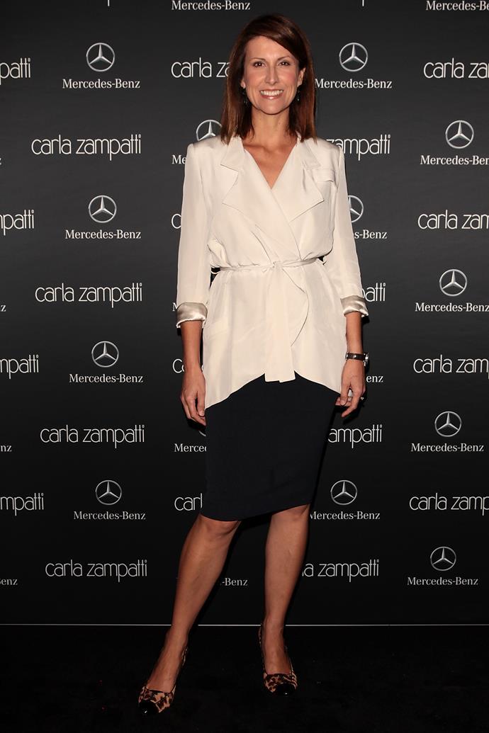 Sunrise presenter Natalie Barr attends the Carla Zampatti show.