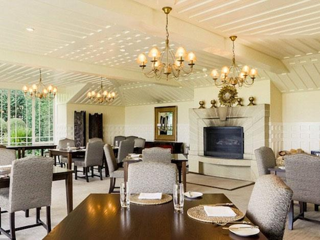 The lodge's dining area, where guests are encouraged to enjoy meals together.