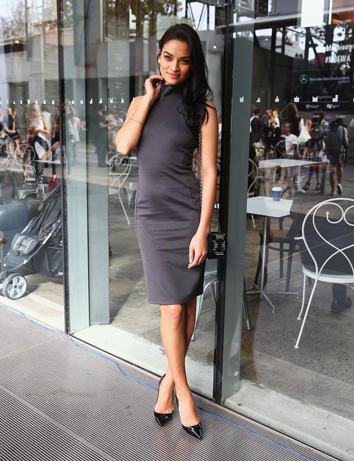 Model Shanina Shaik attends the Maticevski show during Mercedes-Benz Fashion Week.