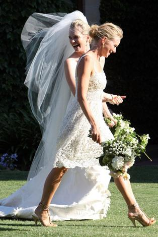 Naomi Watts wore an ivory lace dress to be the bridesmaid for her friend's wedding in 2010.