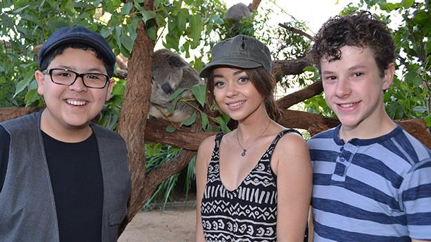 Rico Rodriguez, Sarah Hyland and Nolan Gould in Australia.