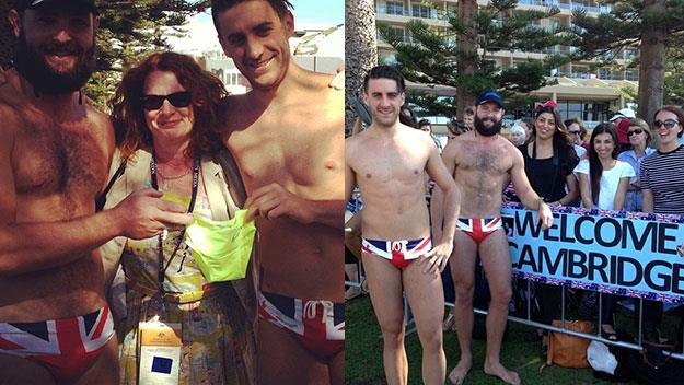 Jordan Allen and Giovanni Testini with the speedo they've made for Prince George.