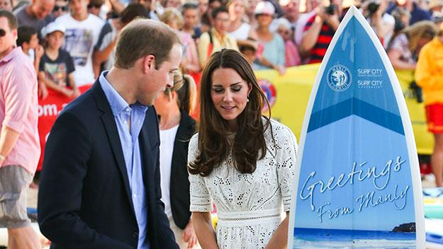 Prince William and Kate Middleton with surfboard Manly Sydney