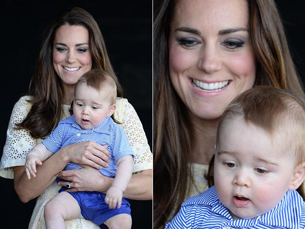 Kate holds onto the young prince for one of his few public appearances on this Royal tour. Photo: Splash Media