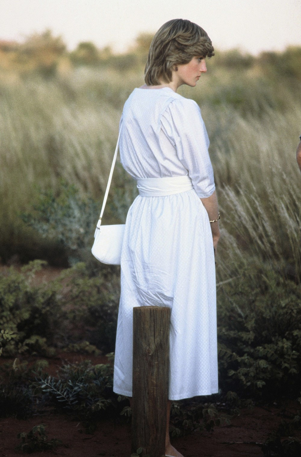 Princess Diana watches the sunset in Central Australia.