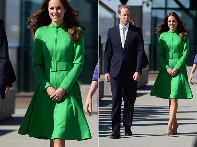 Catherine steps out in a green Catherine Walker coat-dress. Photo: Splash Media