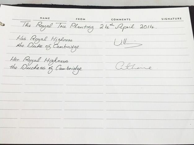Royal signatures in the arboretum visitors book. Photo: Twitter