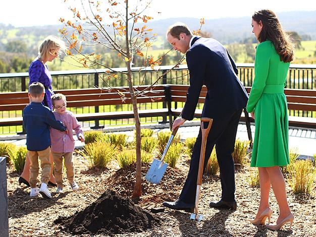 Prince William tips soil onto the symbolic tree. Photo: Getty Images