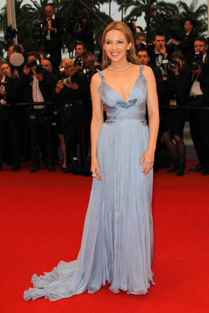 At the Cannes Film Festival in 2012 wearing a lilac Roberto Cavalli gown.
