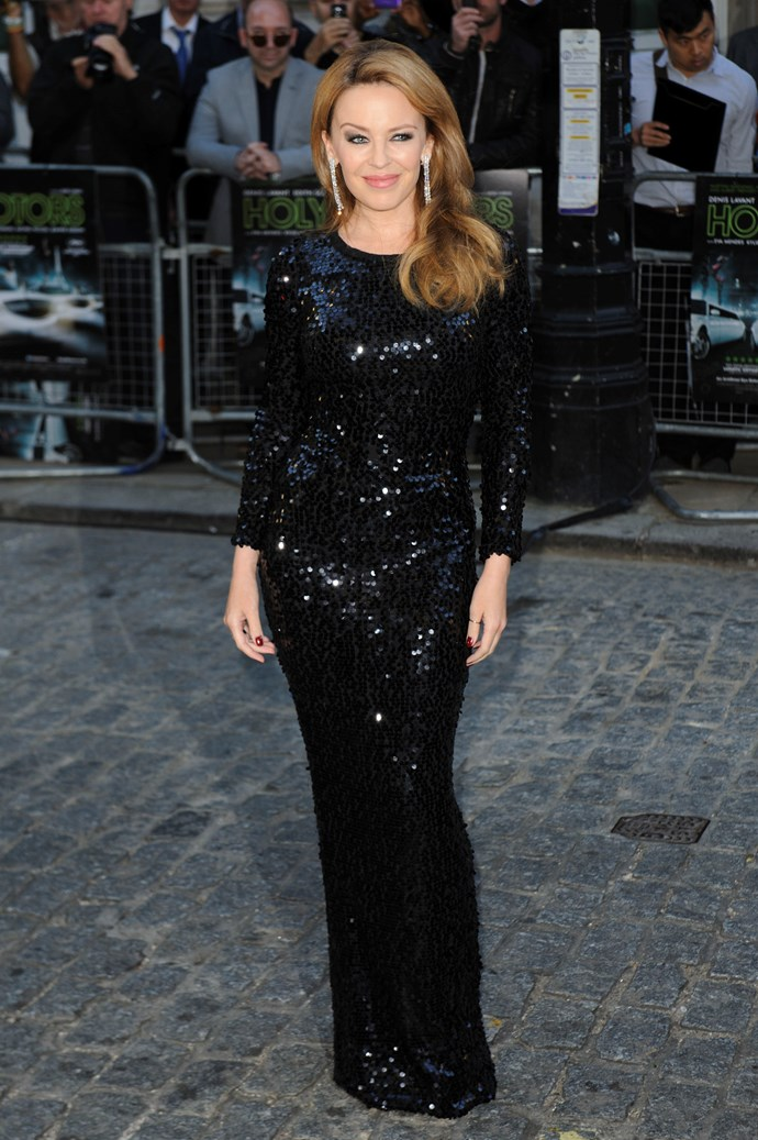For the London premiere of Holy Motors in September 2012, Kylie wore a gorgeous Dolce & Gabbana black sequinned dress.