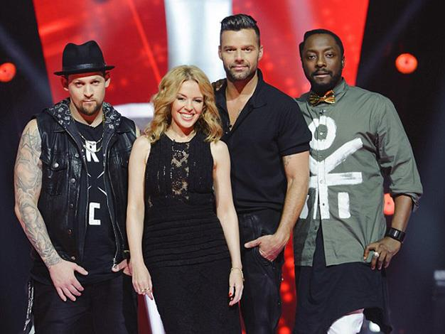 Kylie with her fellow TV judges Joel Madden, Ricky Martin and will.i.am ahead of the show's Sunday, May 4 premiere.