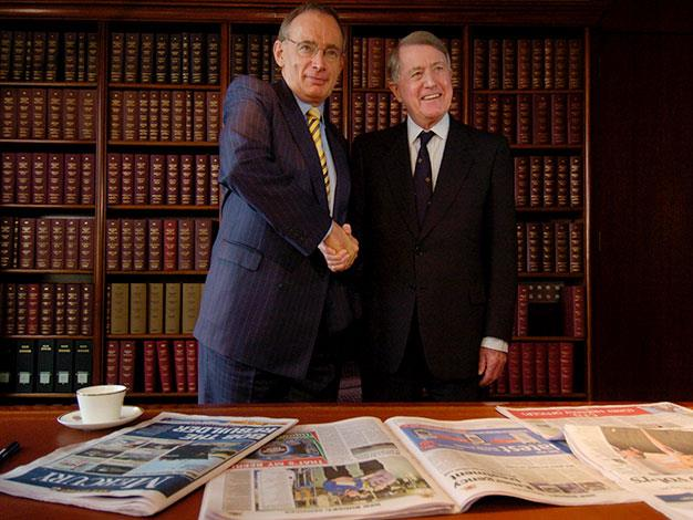 Wran with Bob Carr in 2005.