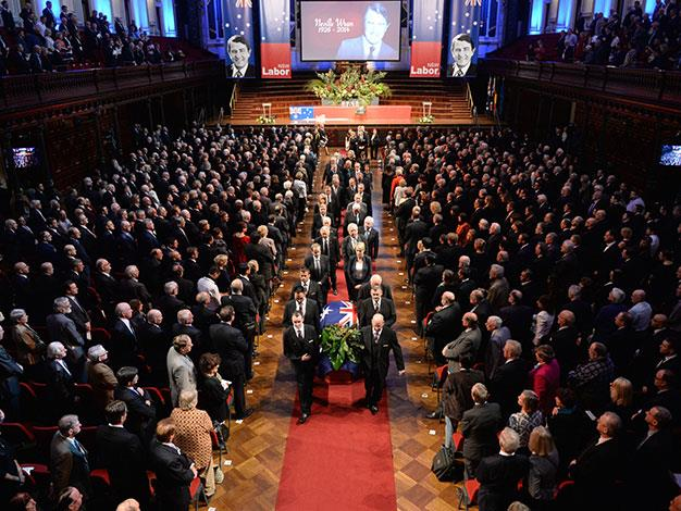 The casket of former NSW Premier Neville Wran is carried from Town Hall followed by former prime ministers Bob Hawke and Paul Keating and former NSW premiers Kristina Kenneally, Nathan Rees, Barry Unsworth, Federal Labor leader Bill Shorten and others Labor dignitaries during his State Funeral in Sydney.