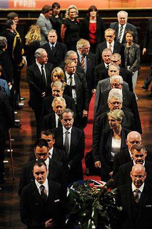 Labor heavyweights following Wran's casket as it is carried from Sydney's Town Hall.