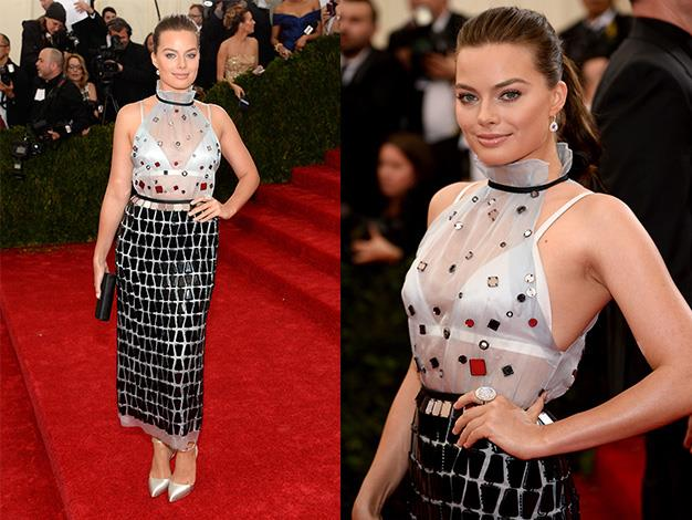 Margot Robbie in Prada for the 'Charles James: Beyond Fashion' Costume Institute Gala at the Metropolitan Museum of Art.