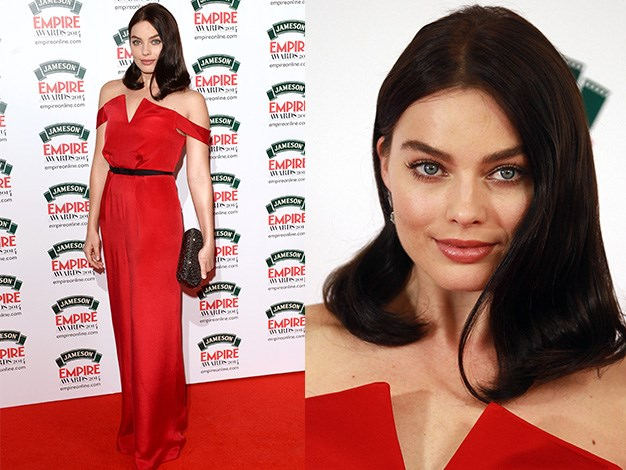 Margot looked gorgeous in a full-length red gown at the Jameson Empire Film Awards at The Grosvenor House Hotel.