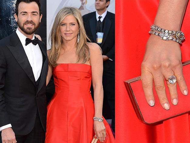 Jennifer Aniston flashed her huge engagement ring from fiancée Justin Thoreau at the Oscars this year. It is reportedly worth close to $1 million.