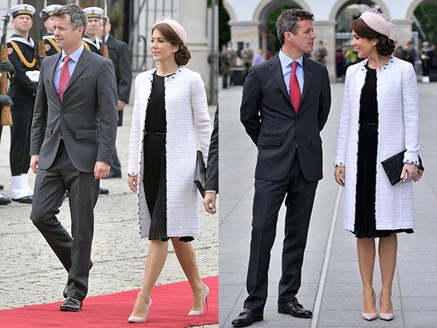 Crown Prince Frederik and Crown Princess Mary,of Denmark are in Poland for an official three-day visit. Mary steals the style crown in this impossibly chic ensemble.