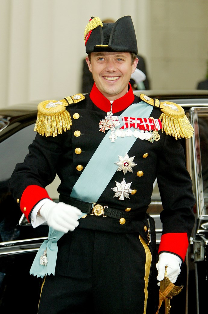 Prince Frederik was all smiles as he arrived for his wedding on May 14, 2004