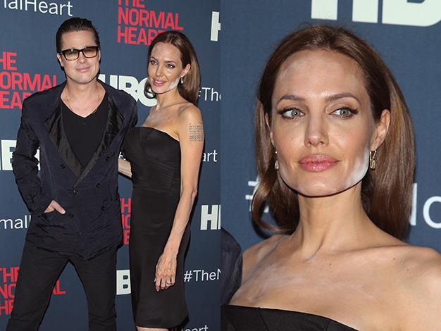 Angelina Jolie's cosmetic catastrophe at the premiere for The Normal Heart in New York with partner, Brad Pitt.