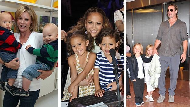 Julia Bown, Jennifer Lopez and Brad Pitt with twins