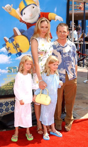 Michael J. Fox with wife Tracy Pollan and twins Aquinnah and Schuyler. The girls were born in 1995.