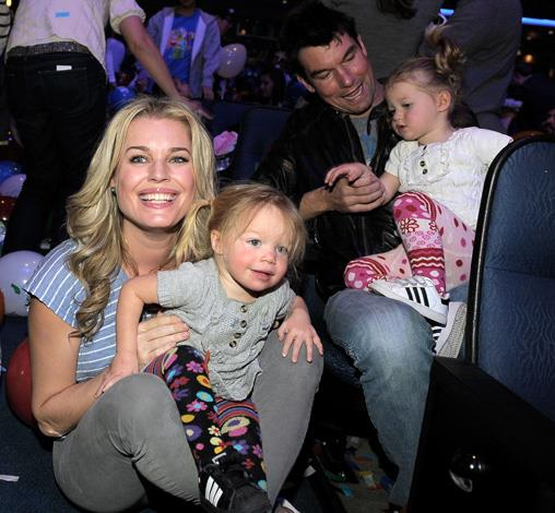 Rebecca Romijn with husband Jerry O'Connell and twins Dolly and Charlie, born in 2008.