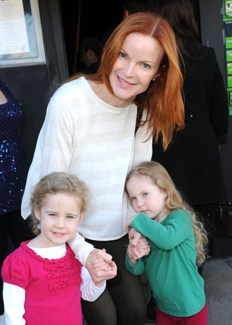 Former Desperate Housewives star Marcia Cross with her twin girls, Eden and Savannah who were born in 2007.