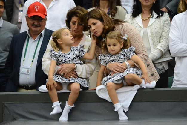 In a strange but beautiful twist tennis ace, Roger Federer and his wife Mirka recently welcomed their second set of twins, boys Lenny and Leo. Here Mirka is holding the couples identical twin girls, Charlene Riva and Myla Rose.