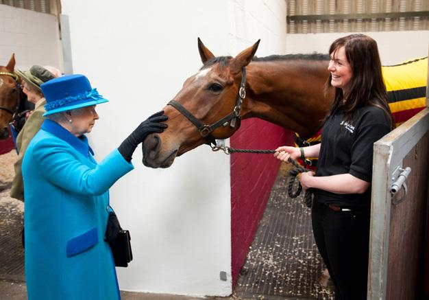 The Queen in April this year visiting the Cotts Farm Equine Hospital in Wales. Photo: Getty