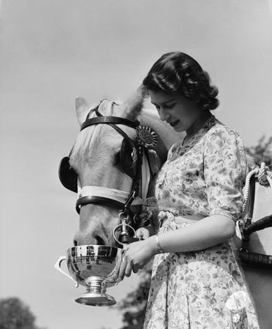 The Queen - when she was Princess Elizabeth - feeds a horse from a trophy cup in the grounds of Windsor Castle in 1944. Photo: Getty