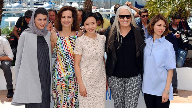 Female jury members Leila Hatami, Carole Bouquet, Do-yeon Jeon, jury president Jane Campion and jury member Sofia Coppola attend the Jury photocall.