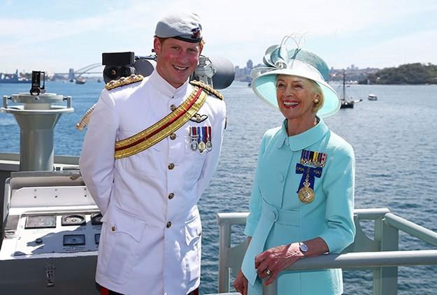 The charming prince and former Governor-General Quentin Bryce look out onto Sydney Harbour onboard the HMAS Leeuwin.