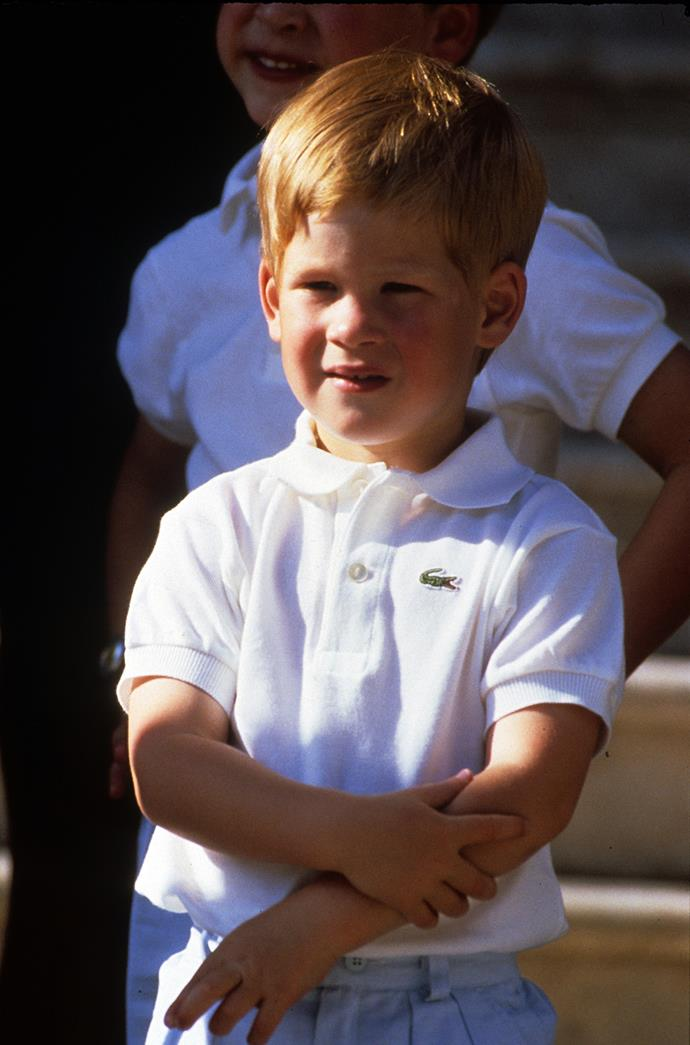 Prince Harry faces the cameras whilst on holiday in Majorca, Spain in August 1988.