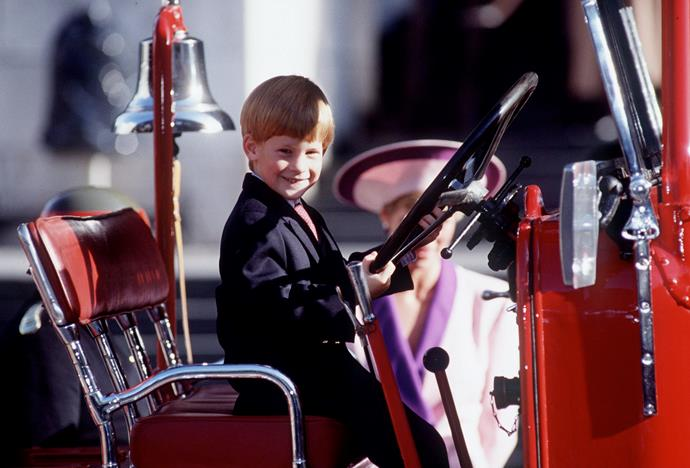 Prince Harry Playing On A Fire Engine At St. Paul's in 1990.