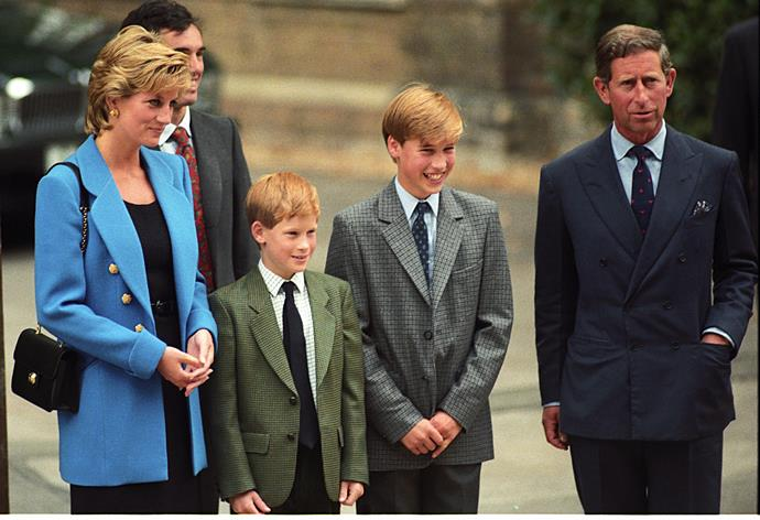 Princess Diana, Prince Harry, Prince William, Prince Charles at Prince William's first day at Eton in 1995.