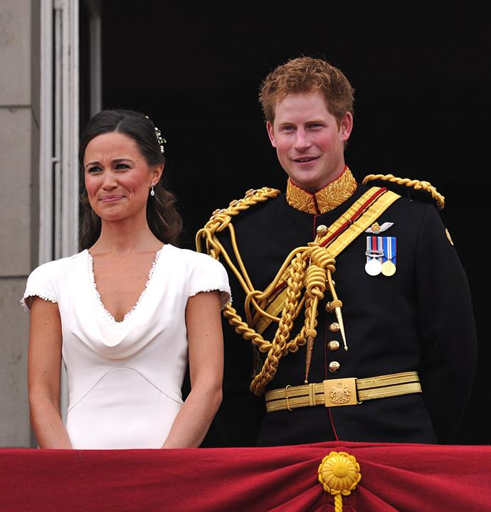 Best man Prince Harry and Maid of Honour Pippa Middleton on the balcony at Buckingham Palace after the Royal Wedding of Prince William to Catherine Middleton on April 29, 2011. There was speculation that the two may become an item.