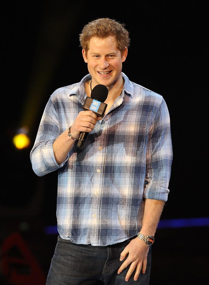 Prince Harry speaks on stage for We Day UK event at Wembley Arena on March 7, 2014 in London.