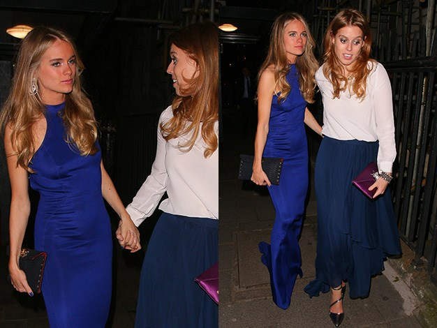 Old friends Cressida Bonas and Princess Beatrice of York leave London's exclusive club, Annabel's together.