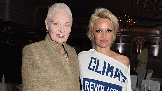 Pamela Anderson with British designer, Vivienne Westwood while attending the launch of Anderson's charity in Cannes on Friday.