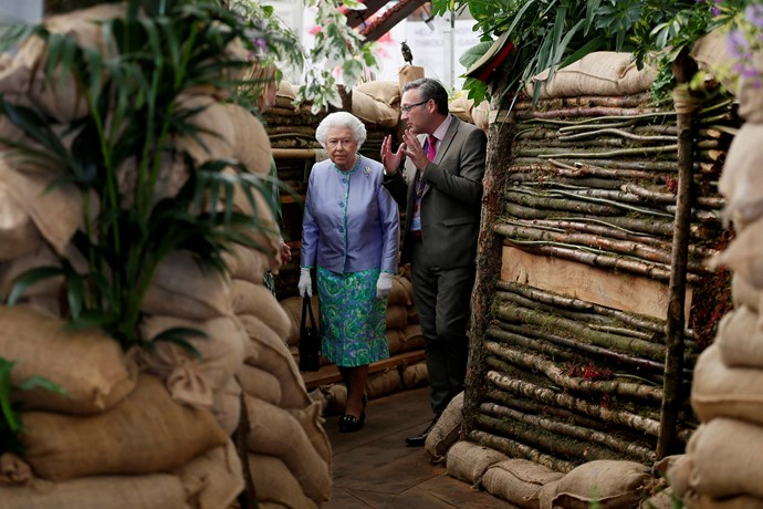 Her Majesty walked through the mock-up trenches in the Birmingham City Council garden.