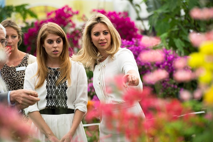 Princess Beatrice of York and friend Holly Branson during a visit to the Chelsea Flower Show.