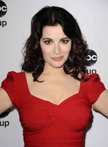 Nigella looked radiant in red.
