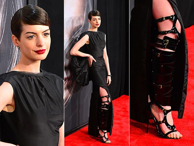 Anne Hathaway showed her commitment to cruelty-free ethics when she stepped out in a custom-made vegan version of Tom Ford's gladiator dominatrix boots.